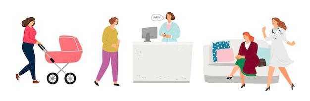 Área de recepção do consultório médico. ginecologista, consultório de pediatras. personagens femininas planas, médicos e pacientes, ilustração vetorial