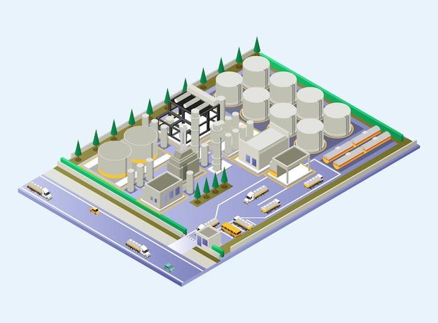 Área de refinaria de petróleo mostrando canos, tubos e tanques de petróleo e caminhões-tanque