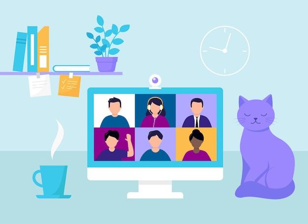 Área de trabalho da quarentena com tela do computador. videoconferência para reuniões, estudos e trabalhos online. ilustração em vetor de atividades sociais remotas. pessoas dos desenhos animados, itens de estilo simples. tabela com monitor.