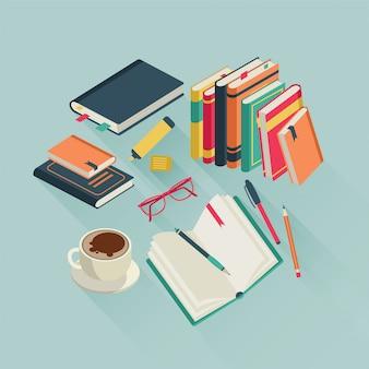 Área de trabalho de livros. livro aberto, lendo o texto da revista estudo, leia a literatura escolar do aluno, ilustração colorida