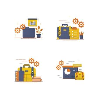 Área de trabalho e ilustração de equipamento