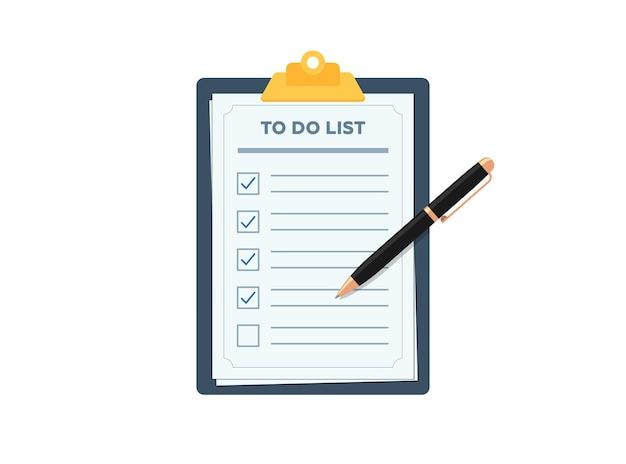 Área de transferência com a caneta de lista de verificação de planejamento de tarefas marcada lista de verificação em papel de formulário de tarefas de vetor plano