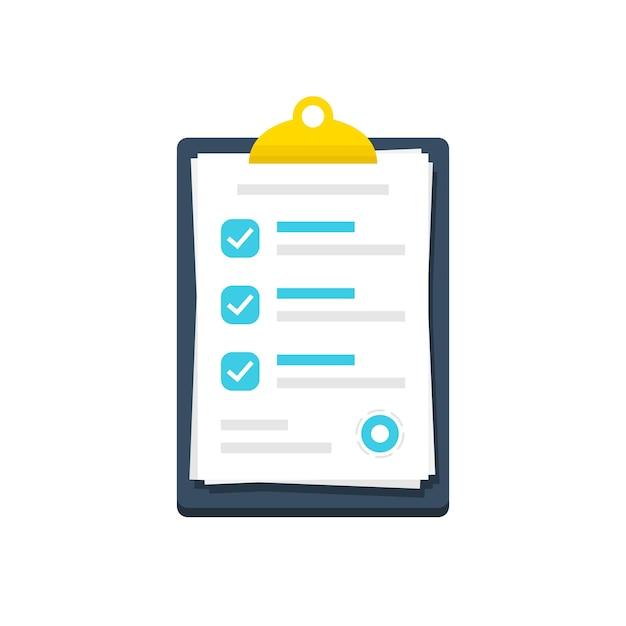 Área de transferência com documento de lista de verificação em um design plano. ícone de marca de seleção do documento