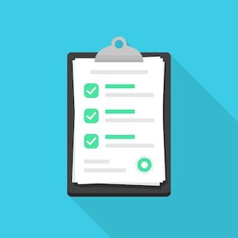 Área de transferência com documento de lista de verificação em um design plano. marque o ícone do documento com sombra longa