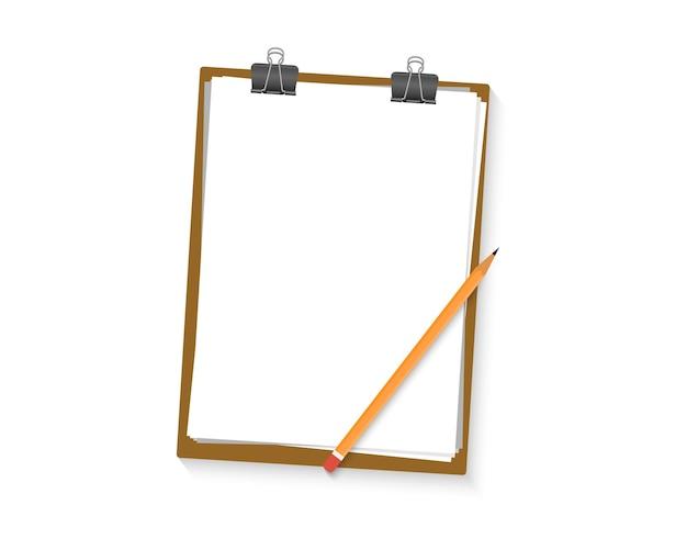 Área de transferência com lápis e lençol branco em branco. borda da área de transferência de papel. maquete da área de transferência vazia em branco. espaço livre para texto