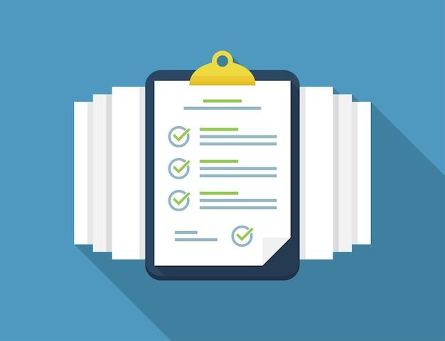 Área de transferência com lista de verificação e documentos em um design plano com sombra longa