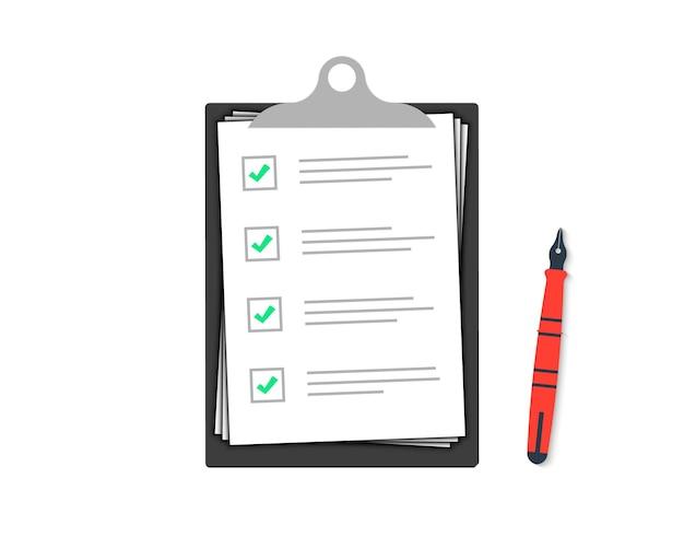 Área de transferência com marcas de seleção e caneta. lista de verificação com uma caneta. sinal da lista de verificação