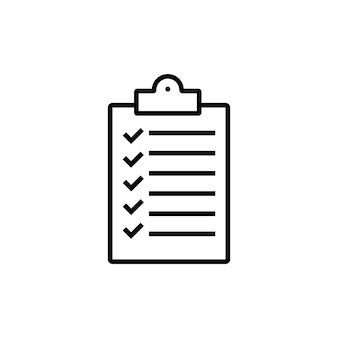 Área de transferência com o ícone da lista de verificação. símbolo de documento em papel. observe o sinal. vetor eps 10. isolado no fundo branco.