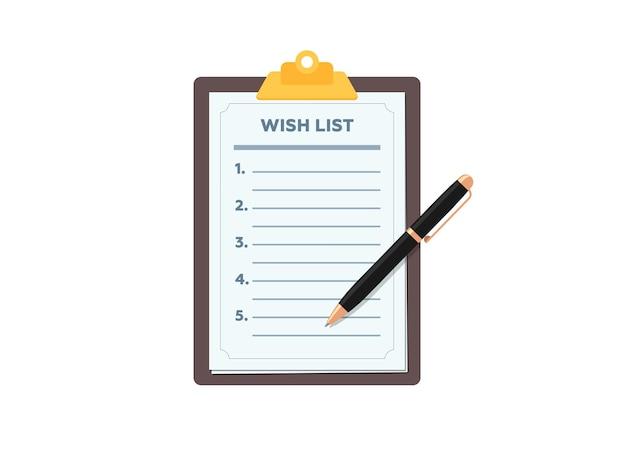 Área de transferência com uma lista de desejos em branco e uma caneta em forma de papel plana ilustração vetorial sinal