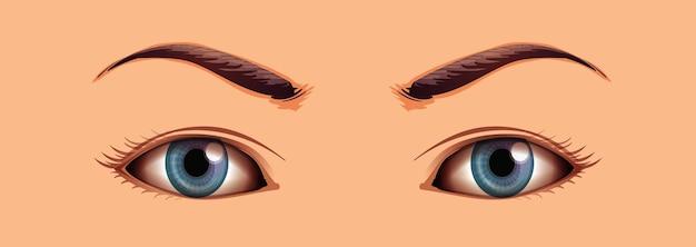 Área dos olhos humanos próximos