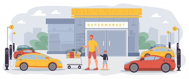Área elétrica de carregamento no pátio do supermercado