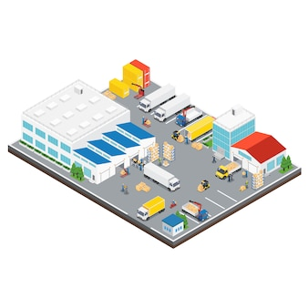 Área industrial de armazém isométrica