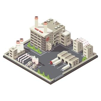 Área industrial de fábrica colorida isométrica