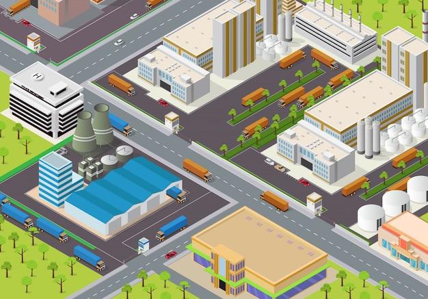 Área industrial isométrica