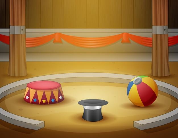 Área interna da arena do circo dos desenhos animados