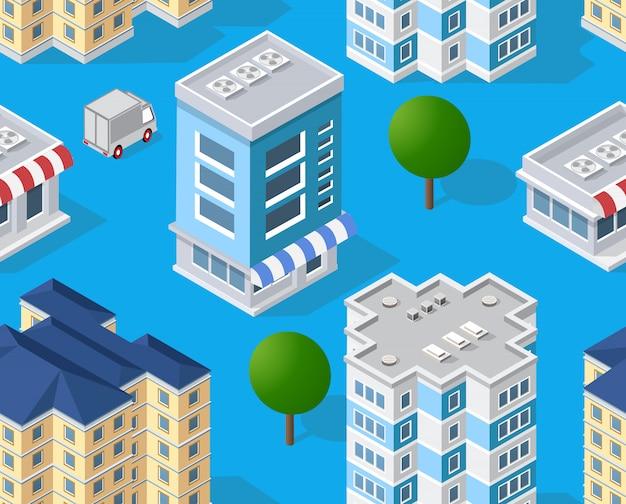 Área isométrica urbana com construção de árvores