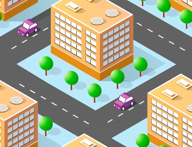 Área isométrica urbana com construção de gramados de árvores