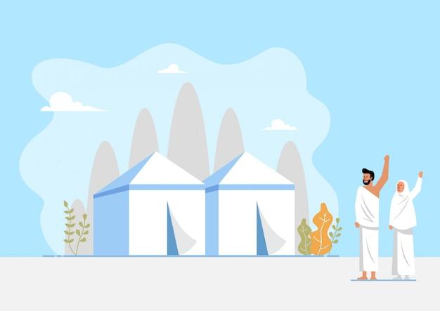 Área muçulmana de peregrinação e tendas