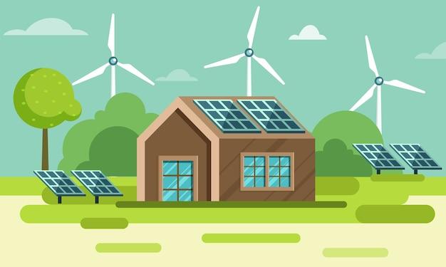 Área rural ou vista rural com ilustração de casa, painéis solares e moinhos de vento sobre fundo verde da natureza.
