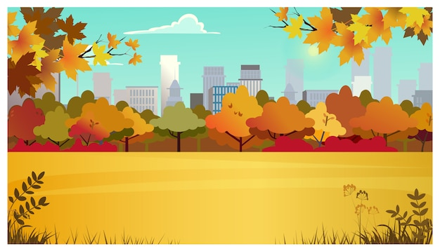 Área suburbana com prado, árvores de outono e edifícios da cidade