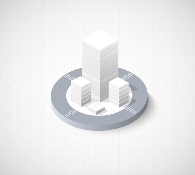 Área urbana da cidade de ilustração isométrica