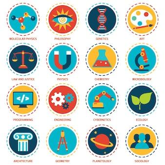 Áreas de ciência ícones configurados com física molecular filosofia arte genética ilustração vetorial isolado