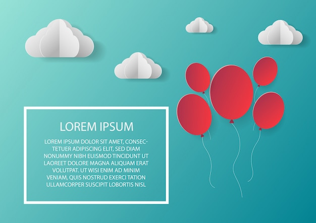 Áreas de nuvem de balão de papel com o modelo de texto.