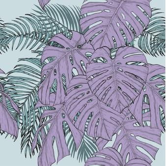 Areca palm e monstera padrão sem costura à mão de desenho