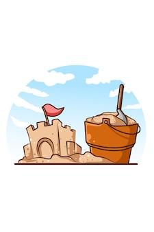 Areia do castelo e balde na praia na ilustração dos desenhos animados de verão