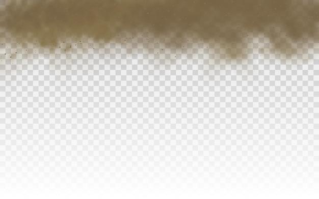 Areia voando. nuvem de poeira marrom ou areia seca voando