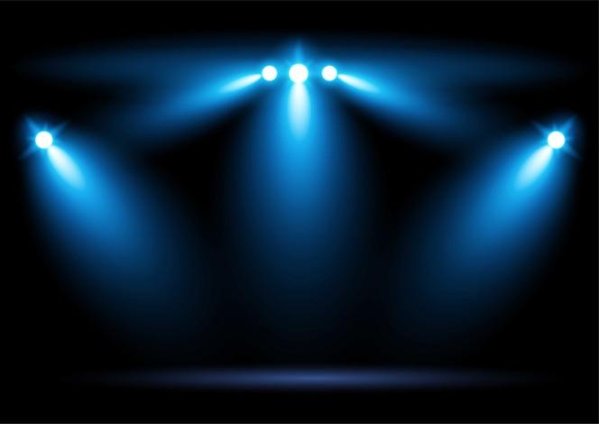 Arena azul brilhante arena iluminação holofotes elemento gráfico ilustração em vetor