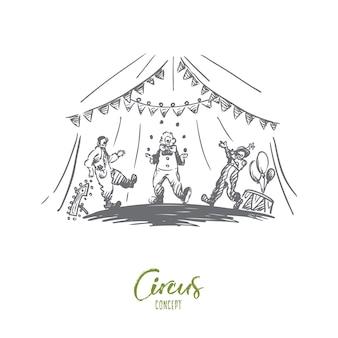 Arena, circo, palhaço, conceito do show. palhaços desenhados à mão fazem malabarismos com o esboço do conceito de show.