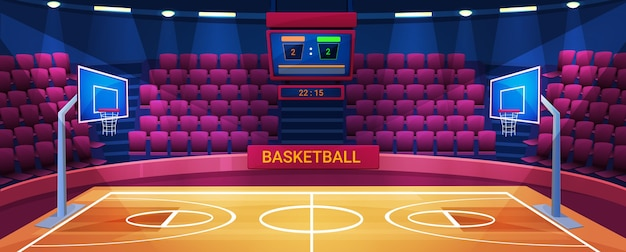 Arena de basquete vazia, ilustração do estádio esportivo.
