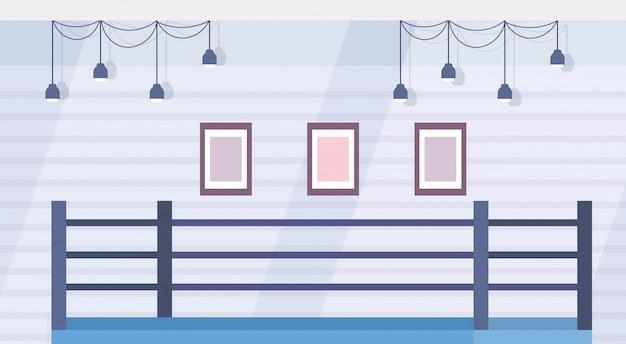 Arena de boxe de anel vazio para treinamento no ginásio moderno luta clube interior design plano horizontal