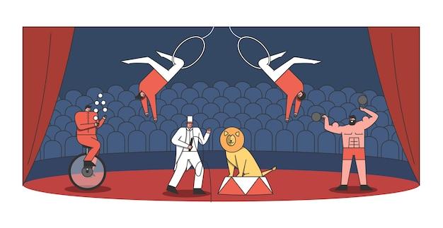 Arena de circo e show de artistas. malabarista, domador com leão, homem forte e acrobata fazendo show