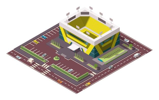 Arena de esporte isométrica. local para as maiores competições esportivas. ícone de vetor ou elemento infográfico que representa o estádio de basquete ou hóquei com carros e ônibus na rua.