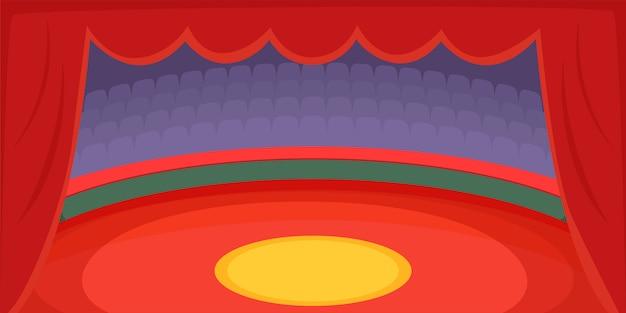 Arena de fundo horizontal de circo, estilo cartoon