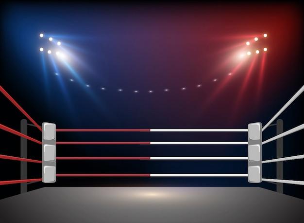 Arena de ringue de boxe e holofotes