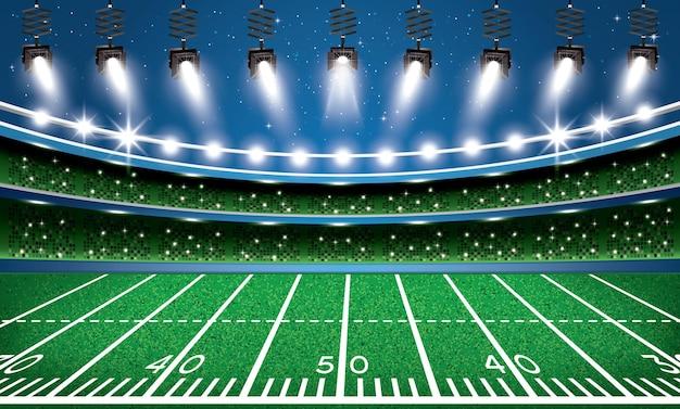 Arena do estádio de futebol americano com holofotes. ilustração vetorial.
