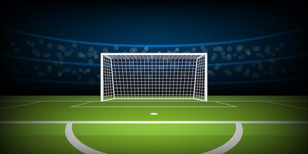 Arena do estádio de futebol, gol de futebol na posição de grande penalidade