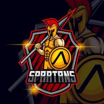 Ares spartan esport logo template ilustração em vetor