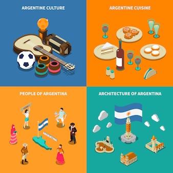 Argentina 4 isométrica turística ícones quadrados