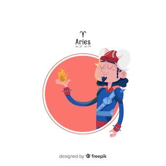 Aries personagem mão desenhada estilo