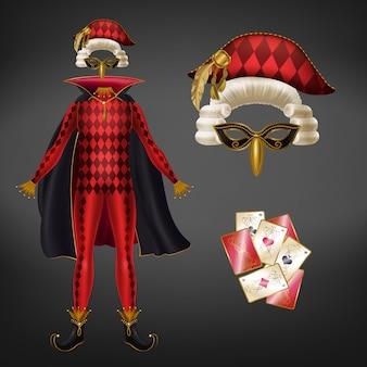 Arlequim medieval, bobo da corte ou palhaço vermelho traje xadrez com dossel, máscara facial