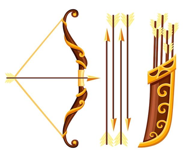 Arma de arco com ilustração de flechas e aljava