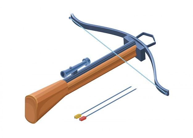 Arma de besta 3d isolada com arcos