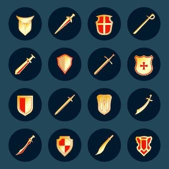 Arma de cavaleiro antigo espadas militares e guerreiro de aço escudos redondos isolados