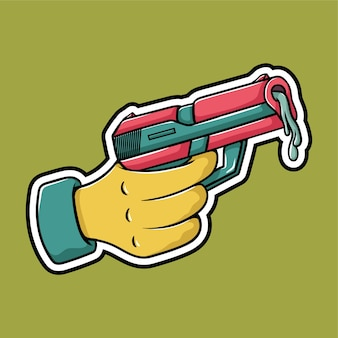 Arma de mão cartoon design da etiqueta