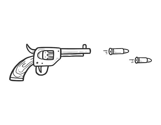 Arma de revólver desenhada de mão com elemento de bala. estilo de desenho de doodle em quadrinhos. cowboy, ícone do conceito ocidental. ilustração isolada do vetor.