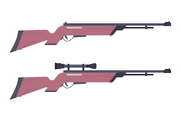 Arma de rifle óptico isolada em um fundo branco.